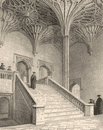 Staircase to the hall, Christ Church College, Oxford, by John Le Keux 1837